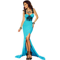 Lace Stitching  Sexy Strapless Dress Floor Length Gown  Evening Elegant Long Party Dresses SM6