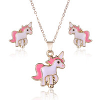Pink Horse Unicorn Jewelry Sets Kits For Women Girl Animal Decorations Earrings Necklaces Costume Wedding Accessories Bijouterie