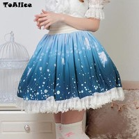So Kawaii Fairy Print Skirt SK Japanese Sweet Lolita Princess Lace Skirts Short Pleated Mini Women Skirt 2017