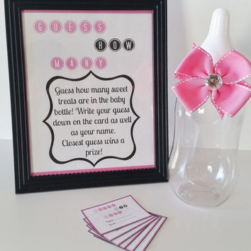 Guess How Many Baby Shower Game, M&M Game, Pink Game Sign, Baby Girl Baby Shower Game Table Centerpiece, Guessing Game, How Many Shower Game