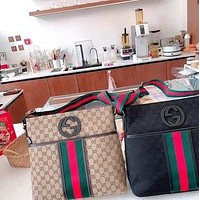 GUCCI retro fashionable red and green stripes retro shoulder bag crossbody bag