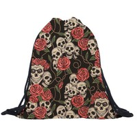 Unisex Backpacks 3D Printing Bags Drawstring Backpack Skull And Flowers Bag For Student Teenagers Fashion Female Mochila