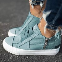 New elastic band canvas shoes thick sole casual large size stitching single shoes women