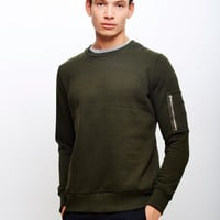 The Idle Man Crew Neck Sweatshirt With Sleeve Pocket Khaki