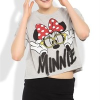 Short Sleeve Crop Top with Loose Fit and Minnie Mouse Screen