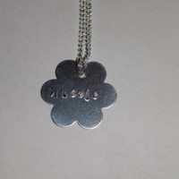 Personalized necklace, silver necklace, gifts for her, women jewelry, girls necklace, handstamped charm, children necklace, silver chain