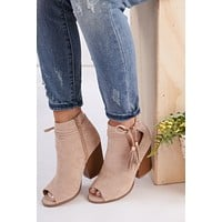 Loud And Clear Cutout Booties (Beige)