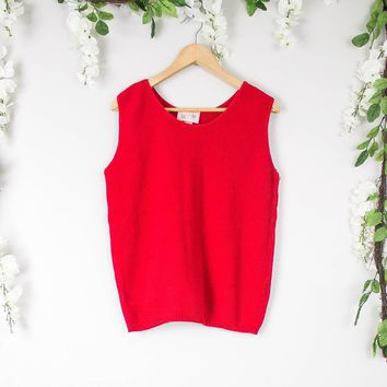 Vintage Red Loose Sleeveless Top