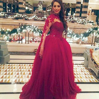 See Through Neck Prom Dress,Red Prom Dresses,Long Evening Dress