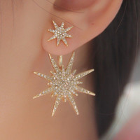 1 PCS New Fashion Women Lady Crystal Rhinestone Gold Earrings Big Double Six-pointed Star Ear Stud Earring