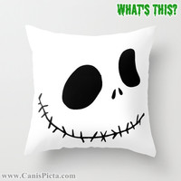 1 Jack Skellington Nightmare Before Christmas Throw Pillow 16x16 Graphic Print Cover Halloween Autumn Fall Pumpkin Orange White Disney Skull