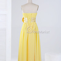 Yellow strapless handmade bowknot lace up chiffon long Bridesmaid dress,Long chiffon prom dress,Handmade lace up long evening dress