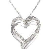 """10k White Gold and Diamond Heart Pendant Necklace (1/4 cttw, H-I Color, I2-I3 Clarity), 18"""""""
