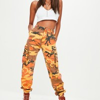 Missguided - Orange Camo Printed Cargo Pants