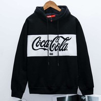 Coca Cola New fashion bust embroidery letter couple contrast color splice couple hooded long sleeve sweater top Black