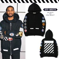 OFF WHITE Zippers Hats Hoodies Winter Stripes Jacket [11501027596]
