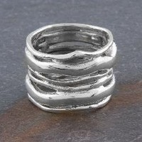 Sterling Silver 'Waves' Wide Ring (Thailand) | Overstock.com