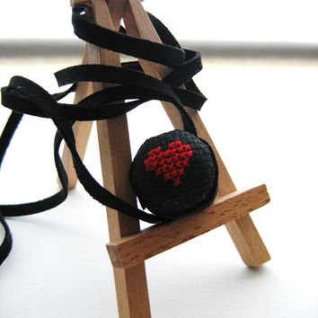 Wood Ring Necklace cross stitch heart gift
