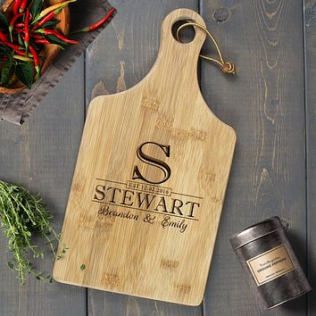 Personalized Engraved Paddle Cutting Board, Bamboo - CB09