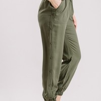 Linda Olive Button Detail Pants
