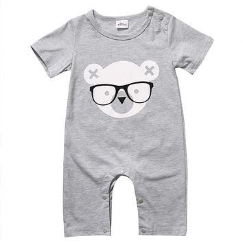 Summer Short Sleeve Bear Cotton Jumpsuit Toddler Kids Outfits Cute born Baby Boy Girl Romper