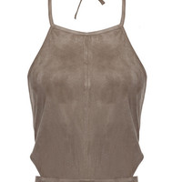 Halter Cropped Tank in Suede