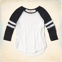 Stripe-Sleeve Graphic Baseball Tee