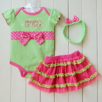 Retail Baby Clothing Set Baby Girl 3 pcs Sets Romper +Tutu Skirt + Headband 3pcs Sets Polka-dot Princess Tutu Dress