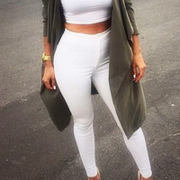White Skinny High-Waisted Pants