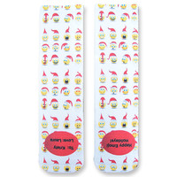 Full Print Holiday Emoji Custom Socks Personalized  - Adult Unisex Size fits Most