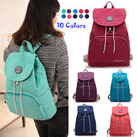 Drawstring Covered Women Backpack School Girls Style Fashion Nylon Waterproof School Bags For Teenagers