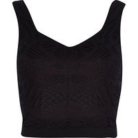 River Island Womens Black crochet crop top