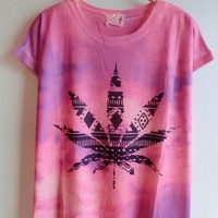 Gradient Color Maple Leaf T-shirt