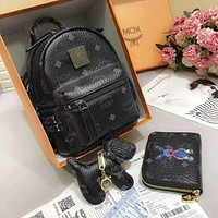 MCM Trending Women Stylish Leather School Bag Double Shoulder Bag Bookbag Backpack Purse Three Piece Set Black I-AGG-CZDL