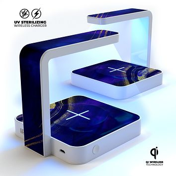 Vivid Agate Vein Slice Blue V2 UV Germicidal Sanitizing Sterilizing Wireless Smart Phone Screen Cleaner + Charging Station