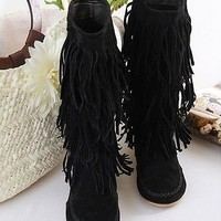 Women Fashion Layer Tassels Slouch Fring Flat Heel Knee High Boots Stylish Shoes