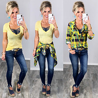 Penny Plaid Flannel Top - Red/Navy/Yellow