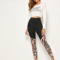 Contrast Panel Geometric Print Skinny Leggings