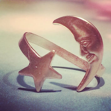 One customized brass moon star swirl version  style  ring