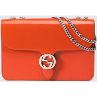 GUCCI Interlocking Polished Leather Shoulder Bag