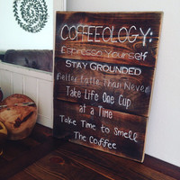 Coffee Sign, Personalized Sign, Wood Sign, Rustic Decor