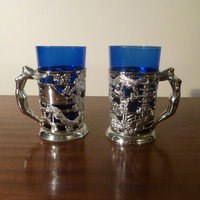 Vintage 1970s Pair of Art Deco Style Cobalt Blue Glass Silver Chrome Mugs - Naked Lady / Nude Woman / Asian Oriental Motif / Retro Cups