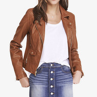 BROWN (MINUS THE) LEATHER QUILTED SHOULDER JACKET from EXPRESS