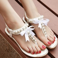 Fashion Online Free Shipping Women Sandals 2015 Flip Flop Rhinestone Shoes Women Flat Sandals With Pearls Women Flats 4 Colors