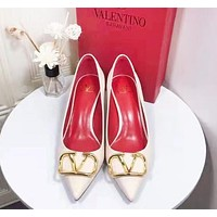 Valentino Fashion Women Leather Pointed High Heels Shoes
