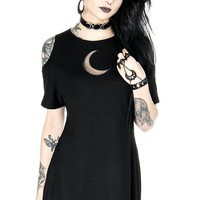 Crescent Moon Gothic Witch Occult Tunic Black Moon Mesh Mini Dress