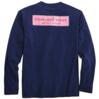 Vineyard Vines Long Sleeve Tee- Rectangle Logo- Navy