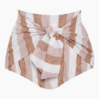 Hot High Waist Linen Blend Bikini Bottom - Porto Rose Stripe Print