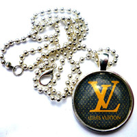 Louis Vuitton Brown & gold logo. Louis Vuitton necklace. 1 inch metal frame, glass dome and ball chain necklace. Designer necklace. Fashion necklace. Fashion jewelry.