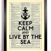 Keep Calm And Live By The Sea Anchor Typography Repurposed Book Dictionary Art Vintage Print Recycled Dictionary Page Buy 2 Get 1 FREE